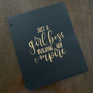 🛍NWT Black & Gold Girl Boss 2 Pocket Folder